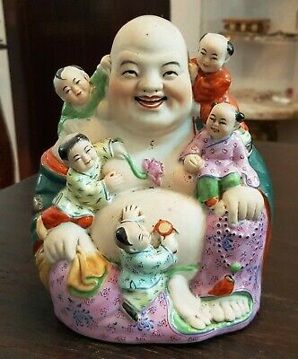 Antique China Chinese Porcelain smiling Buddha with children signed 佛