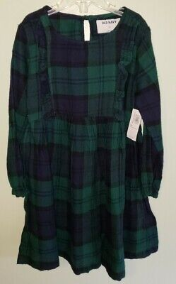 NEW Old Navy Girls 5T Long Sleeve Plaid Flannel Dress Navy Blue Green #31820