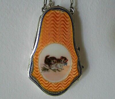 Antique A.nouveau German Sterling Silver Guilloche Enamel Kitten Vanity Purse