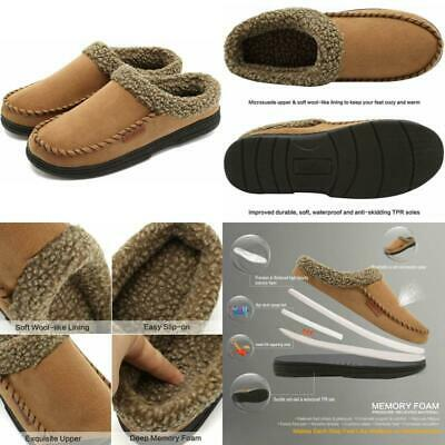 Men's Moccasin House Shoes Slippers Memory Foam Warm Winter Mens Size 9 US Brown