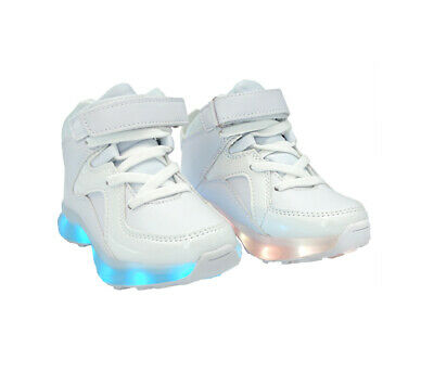 LED Light Up Sneakers High Top Kids USB Charging Boys Girls Unisex Shoes White