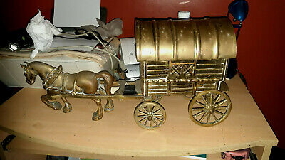 Large Heavy 15.4kg Vintage Solid Brass Horse with Cart Gypsy Caravan Ornament