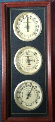 Vintage Sunbeam Barometer Humidity Thermometer Hardwood Nautical Weather Station
