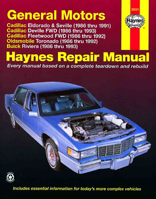 Haynes Workshop Manual Cadillac Eldorado Seville Fleetwood 1986-1993 New Service