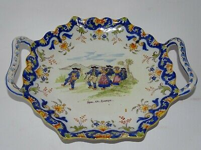 VINTAGE PLATER FRENCH FAIENCE DESVRES ROUEN 19 TH CENTURY the french wedding