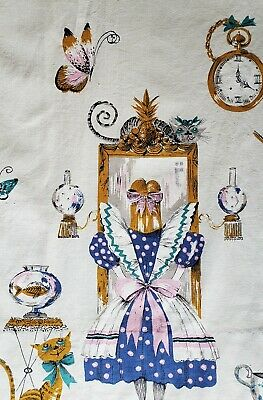 A Pair Of 50s-60s Alice In Wonderland VTG Pinch Pleat Curtains Each 47w x 37.5l