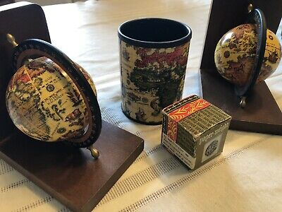 Vintage World Globe Bookends Wooden Spinning Matching Paper Weight Pen Holder