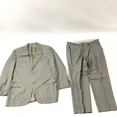 Canali Men's 2 Pc Suit Jacket Pants Size 54 US 44 Gray Plaid Made in Italy