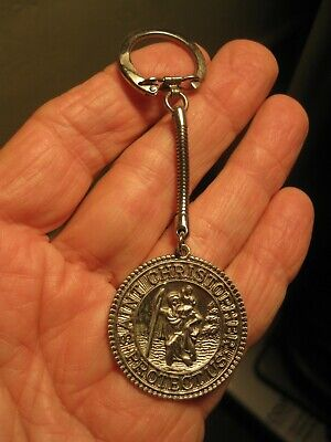Vintage St Christopher Protect Us Silver MEDAL on Key Chain Hot Rod Rat Rod