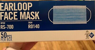 Safety Zone 50 Piece Face Mask Surgical Disposable Color Blue Ship Same Day
