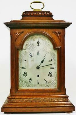 Antique 8 Day Bracket Clock Musical 1/4 Striking Westminster Chime Mantel Clock
