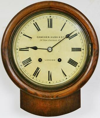 Small Antique German Drop Dial Wall Clock Solid Oak 8 Day Striking Wall Clock