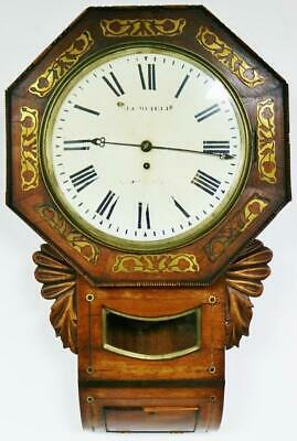 Antique 8Day English Single Fusee Inlaid Mahogany Timepiece Drop Dial Wall Clock