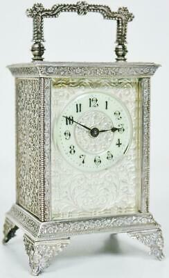 Rare Antique French 8 Day Carriage Clock Embossed White Metal Cased Mantel Clock