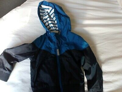 Boys Howick blue and navy waterproof rain jacket age 2-3 years