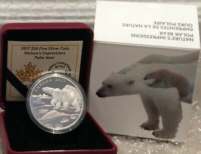 Polar Bear Nature's Impressions Paw Prints $20 2017 1OZ Silver Proof Coin Canada