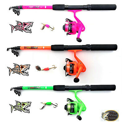 - Set Tele Spinning Combo Verde Naranja Fucsia Caña Carrete Cable Spinner