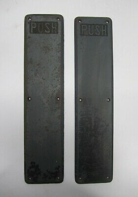 Vtg Pair 2 Cast Metal Iron Push Plate Swing Door Hardware Industrial Commercial