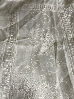 """Vintage White Linen Tablecloth 52"""" X 62"""" Flowers, Scrolls And Greek Border"""