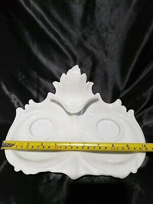 Antique KPM WHITE porcelain inkwell ink stand inkstand desk stand tray