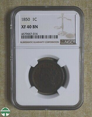 1850 Braided Hair Large Cent - Ngc Certified - Xf 40 Bn