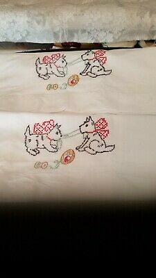 Hand Embroidered Scotty Pillowcases