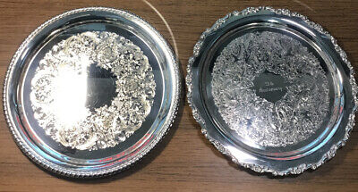 Lot Of 2 Antqieu Engraved Silver Plate Serving Dishes