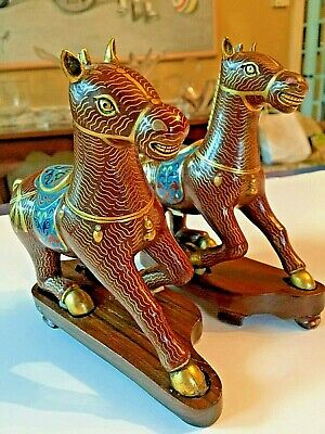 Pair of Chinese Cloisonne Horses w/ red ground