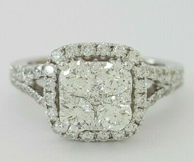 1 ct 14k White Gold Round Cut Diamond Cluster Cushion Halo Engagement Ring