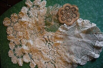 Lot of 10 Vintage Hand Crocheted Doilies White & Ecru Small Medium