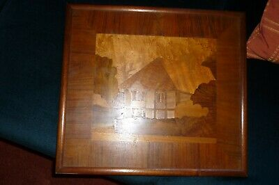 Wooden picture - Signed Marquetry - The Old Cottage - Cockington Devon