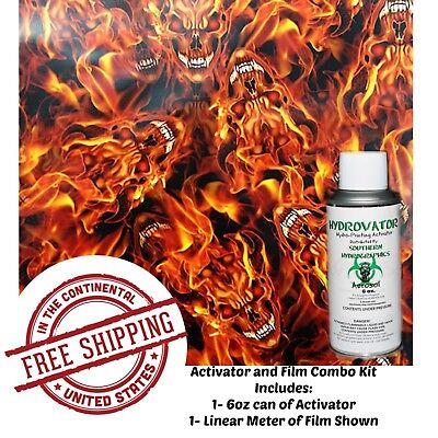 Hydrographic Film Water Transfer Hydro Dip 6Oz. Activator Flaming Devil Kit
