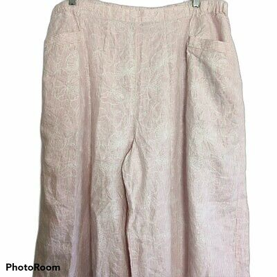 Flax Linen Pants Pull On 3G Plus 3X Embroidered Flowers Pink Seersucker Wide Leg