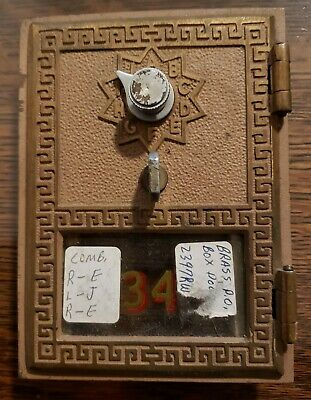 "Post Office Box Door Working Letter Combo 3"" x 4.5"" Keyless Lock Co. 1960 #34"