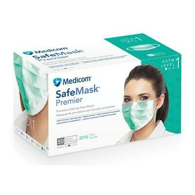 Medicom Safe Mask Premier Earloop Face Mask Box/50 ASTM Level 1 Teal USA