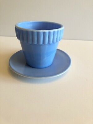 Akro Agate Blue Glass 300F Flower Pot and Plate