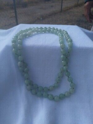 """Vintage Chinese Jade Beads Necklace 32"""" Round"""
