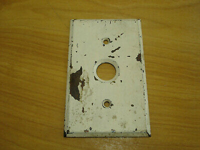 Antique Single Solid Brass Toggle Push Button Light Switch Cover Plate Chippy