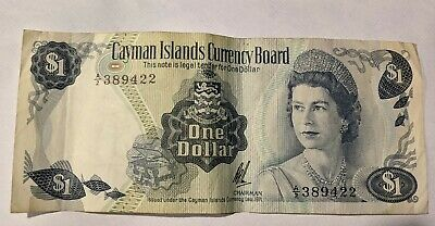 1971 Cayman Islands $1 Banknote Prefix A/2  389422 *NICE*