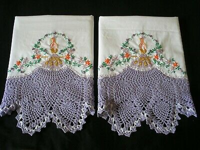 White PillowCases Sateen Cotton Hand Embroidered Crochet Southern Belle Pair 4#
