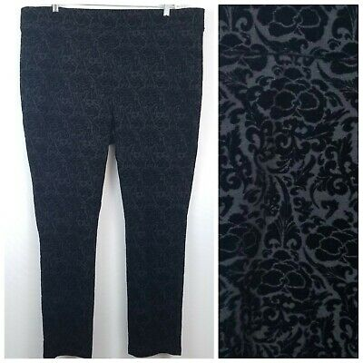 NYDJ Womens Pants 22W Black Flocked Ponte Joanie Skinny Leggings Lift Tuck Pull