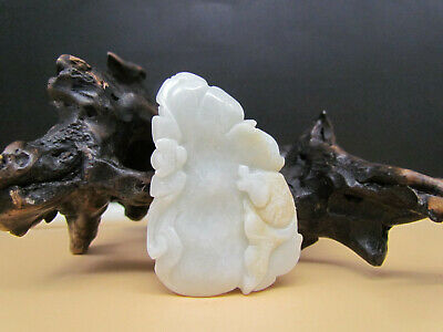 Chinese Hand-carved aristocratic wearing Jadeite jade pendant Lotus fish