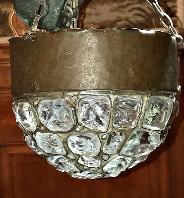 Antique Chunk Glass Lamp Art & Craft Hammered Copper Leaded Light Tiffany Style