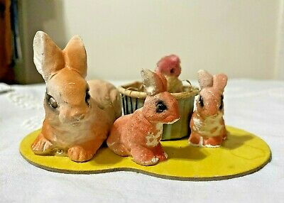Vintage 1940s Easter Candy Container Nut Cup Chalkware Rabbits Bunnies Chicks