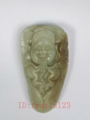 Collection China Xinjiang Jade Hand Carving Ru Yi God of Wealth Statue Pendant
