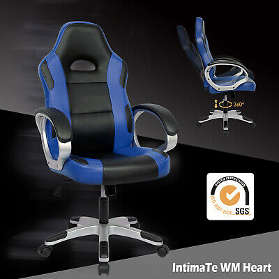 Executive Racing Gaming Office Chair PU Leather Swivel Sport Computer Desk Blue