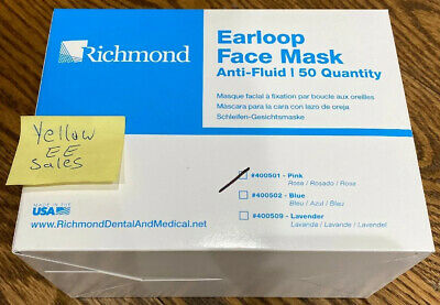 Richmond 50 Pink Anti-Fluid 3-Ply Earloop Face Mask ASTM Level 1 F2100 USA Made