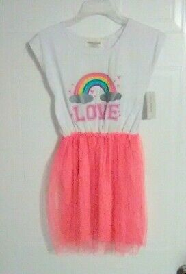 Bobbie Brooks Girl's White and Pink Dress - LOVE - Size: M (7-8)