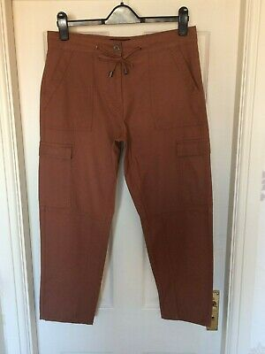 BNWT NEXT sz 12 R STUNNING BROWN TAN CHINOS CROP TROUSERS RRP £30 CROPPED