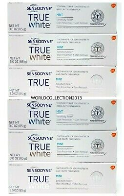 Lot of 6 Sensodyne True White Toothpaste Mint 3oz Each Exp 08/2020